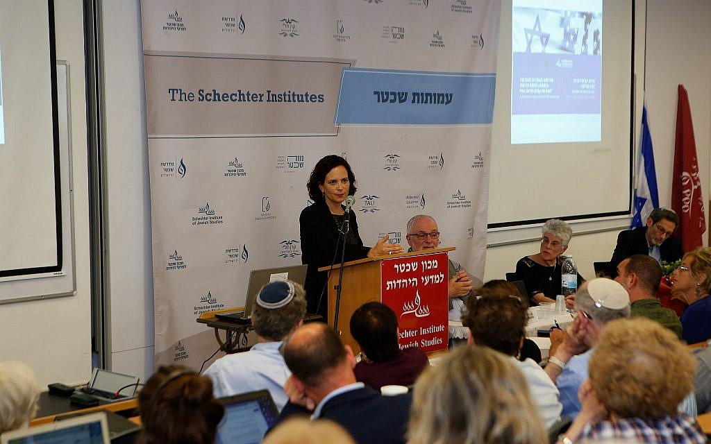MK Rachel Azaria speaking at a panel discussion at the Schecter Institute on April 30, 2018 concerning the need for Israel to still find its' Jewish identity. (Eyal Weiss/Schecter Institute of Jewish Studies)