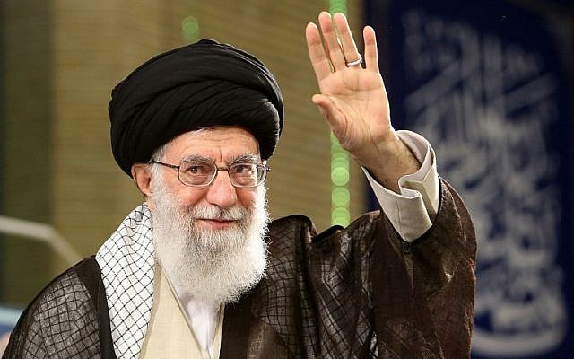 A handout picture provided by the office of Iran's Supreme Leader on April 30, 2018, shows Ayatollah Ali Khamenei waving to the crowd as he delivers a speech during Labor Day.  (AFP PHOTO / Iranian Supreme Leader's Website / HO)