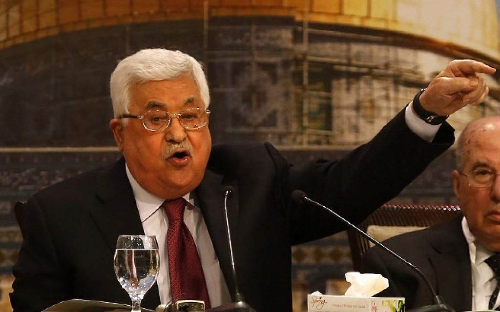 Palestinian Authority President Mahmoud Abbas gestures as he chairs a Palestinian National Council meeting in Ramallah on April 30, 2018. (AFP/Abbas Momani)