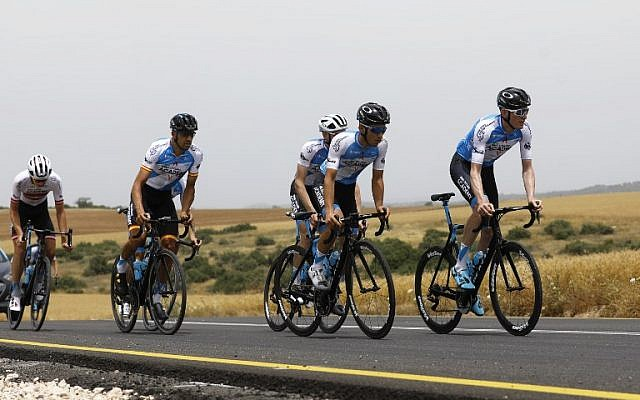 Members of the Israel Cycling Academy team train near Kibbutz Beit Guvrin on May 1, 2018, a few days before the start of the Giro d'Italia cycling race. (AFP Photo/Menahem Kahana)
