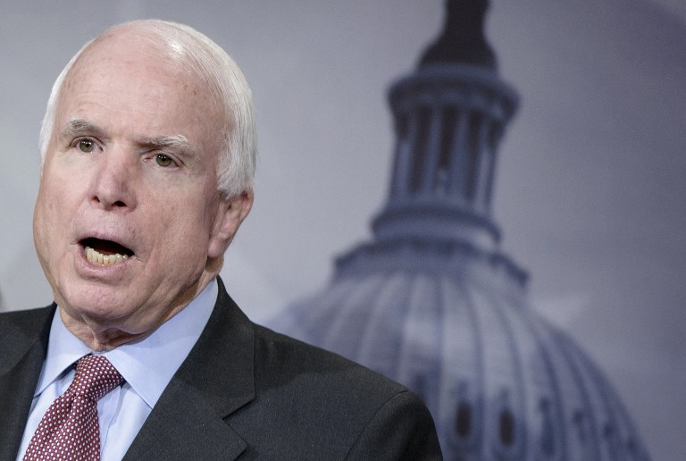 US Senator John Mc Cain speaks during a press conference on Capitol Hill in Washington DC