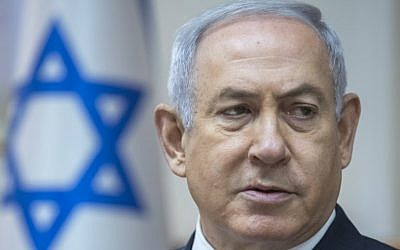 Prime Minister Benjamin Netanyahu chairs weekly cabinet meeting in Jerusalem on May 6, 2018. (AFP PHOTO / POOL / JIM HOLLANDER)