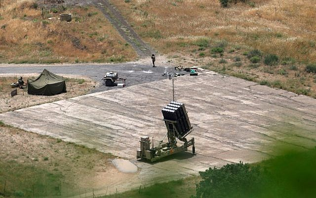 An Iron Dome missile defense system, designed to intercept and destroy incoming short-range rockets and artillery shells, is deployed in northern Israel on May 7, 2018. (Jalaa Mary/AFP)
