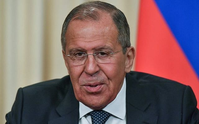 Russian Foreign Minister Sergei Lavrov attends a joint press conference with his German counterpart following their talks in Moscow on May 10, 2018. (AFP PHOTO / Yuri KADOBNOV)