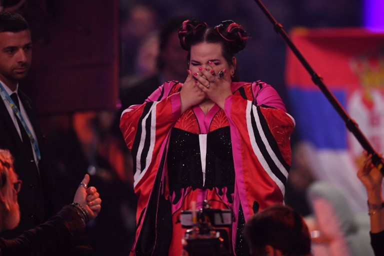 Israel's singer Netta Barzilai aka Netta reacts after winning the final of the 63rd edition of the Eurovision Song Contest 2018 at the Altice Arena in Lisbon