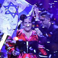 Netta Barzilai after winning the final of the 63rd edition of the Eurovision Song Contest 2018 at the Altice Arena in Lisbon, on May 12, 2018. (AFP/ Francisco LEONG)