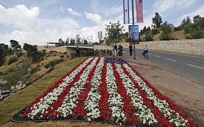 An American flag flowerbed planted next to   the compound of the US consulate in Jerusalem, which will host the new US embassy on May 13, 2018, AFP PHOTO / Ahmad GHARABLI
