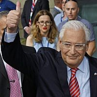 US Ambassador to Israel David Friedman arrives at the inauguration of the US embassy in Jerusalem on May 14, 2018. (AFP Photo/Menahem Kahana)