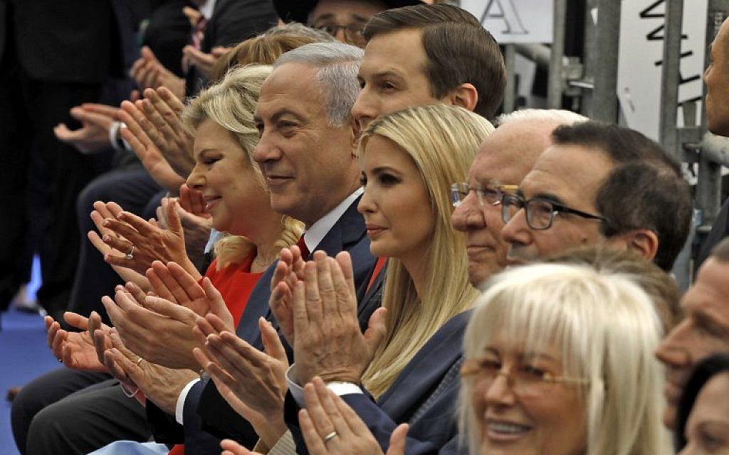 Prime Minister Benjamin Netanyahu 2nd left, his wife Sara Netanyahu, left, Senior White House Adviser Jared Kushner 3rd left, US President's daughter Ivanka Trump, center, US Treasury Secretary Steve Mnuchin, right, and US ambassador to Israel David Friedman, 2nd right, attend the opening of the US embassy in Jerusalem on May 14, 2018. (MENAHEM KAHANA/AFP)