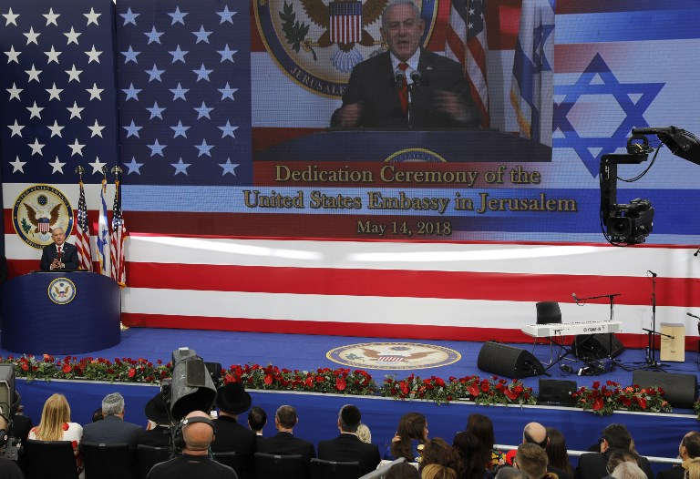 Prime Minister Benjamin Netanyahu delivers a speech at the inauguration ceremony of the US embassy in Jerusalem