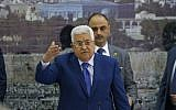 Palestinian Authority President Mahmoud Abbas addresses the Palestinian leadership in the West Bank city of Ramallah on May 14, 2018. ( ABBAS MOMANI/AFP)