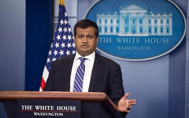 White House Deputy Press Secretary Raj Shah speaks during the daily press briefing at the White House, on May 14, 2018. (AFP Photo/Saul Loeb)