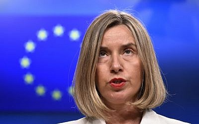 EU foreign policy chief Federica Mogherini gives a press conference after an EU-Tunisia Association Council meeting at the EU headquarters in Brussels, on May 15, 2018.  (AFP PHOTO / JOHN THYS)