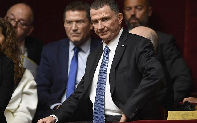 Yuli Edelstein at the French National Assembly in Paris, on May 16, 2018. (AFP/Eric FEFERBERG)