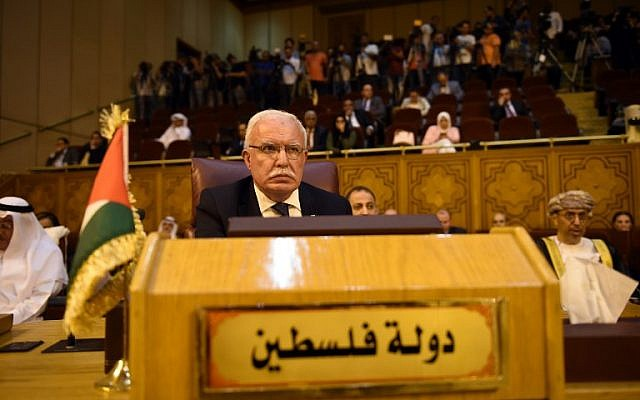 Palestinian Authority Foreign Minister Ryad al-Malki attends the Arab League Foreign Ministers meeting in the Egyptian capital Cairo on May 17, 2018. (MOHAMED EL-SHAHED/AFP)