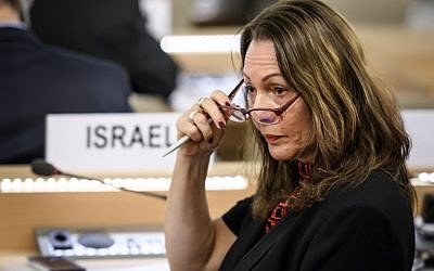 Israel's Ambassador Aviva Raz Shechter gestures during a special session of the United Nations Human Rights Council on May 18, 2018, which voted for an investigation into Gaza border violence.  (AFP/Fabrice Coffrini)