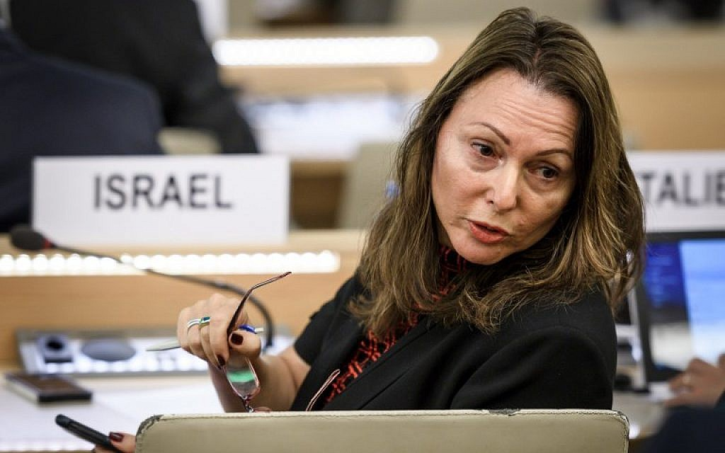 "Aviva Raz Shechter, Israel's permanent representative in Geneva to the UN, at a special session of the United Nations Human Rights Council to discuss ""the deteriorating human rights situation"" in the West Bank and Gaza, on May 18, 2018. (AFP Photo/Fabrice Coffrini)"