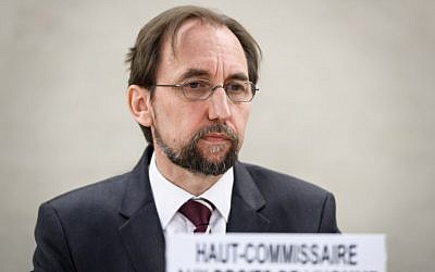United Nations High Commissioner for Human Rights Zeid Ra'ad Al Hussein attends a special session of the United Nations Human Rights Council on May 18, 2018 in Geneva. (AFP/Fabrice Coffrini)