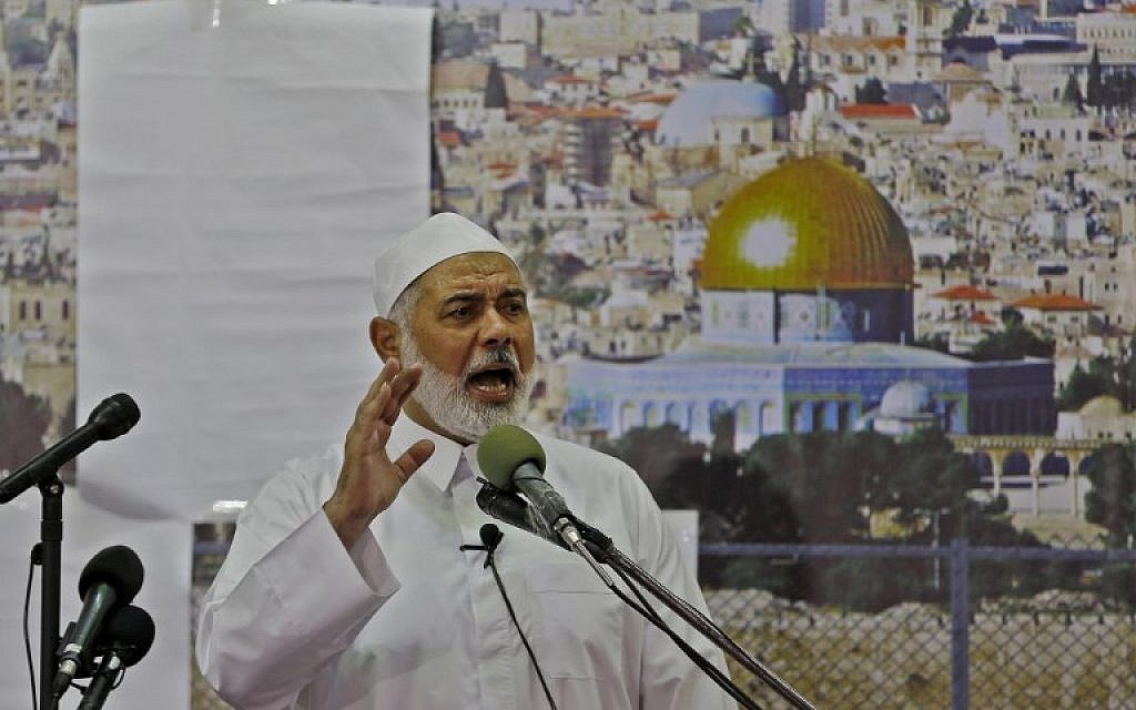Hamas leader Ismail Haniyeh gives a speech on the first Friday of the holy month of Ramadan on May 18, 2018, at the Great Mosque in Gaza City. (AFP Photo/Mohammed Abed)