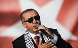 Turkish President Recep Tayyip Erdogan addresses a protest rally against Israel in Istanbul on May 18, 2018. (OZAN KOSE/AFP)