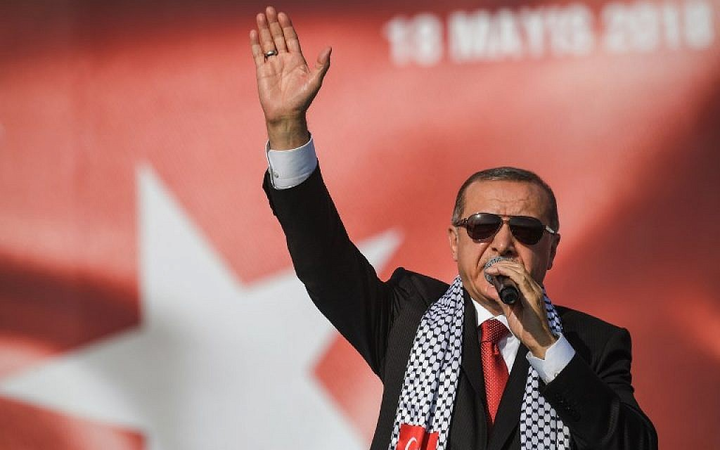 Turkish President Recep Tayyip Erdogan speaks at a pro-Palestinian rally in Istanbul on May 18, 2018. (AFP Photo/Ozan Kose)