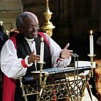 Bishop Michael Bruce Curry gives a reading during the wedding ceremony of Britain's Prince Harry, Duke of Sussex and US actress Meghan Markle in St George's Chapel, Windsor Castle, in Windsor, on May 19, 2018.  (AFP / Owen Humphreys)