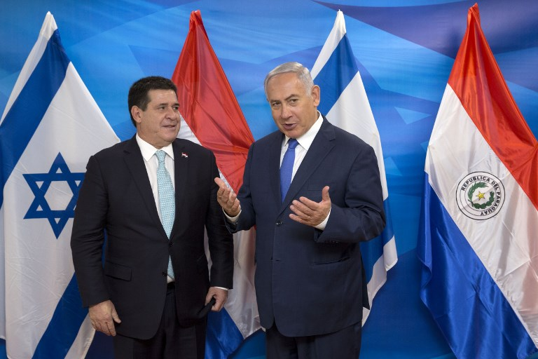 Israeli Prime Minister Benjamin Netanyahu meets with Paraguayan President Horacio Cartes at the Prime Minister's office in Jerusalem