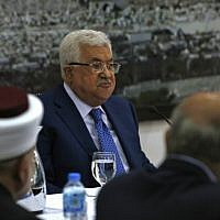 Palestinian Authority President Mahmoud Abbas adressess the Palestinian leadership in the West Bank city of Ramallah, May 14, 2018. (ABBAS MOMANI/AFP)