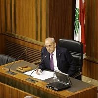 In this file photo taken on October 31, 2016, Lebanese Parliament Speaker Nabih Berri addresses a parliamentary session in the capital Beirut. (AFP PHOTO / POOL / JOSEPH EID)