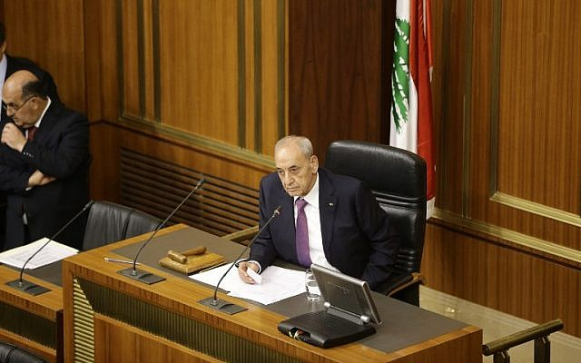 In this file photo from October 31, 2016, Lebanese Parliament Speaker Nabih Berri addresses a parliamentary session in the capital Beirut. (AFP Photo/Pool/Joseph Eid)