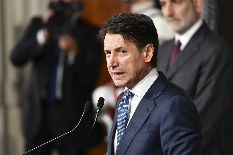 Italian Lawyer Giuseppe Conte Addresses Journalists After A Meeting With Italys President Sergio Mattarella On May