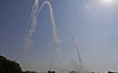 Illustrative: The IDF launches a missile from the Iron Dome air defense system to intercept an incoming rocket from Gaza from a position in the southern Israeli city of Ashkelon on May 29, 2018. (AFP/Menahem Kahana)