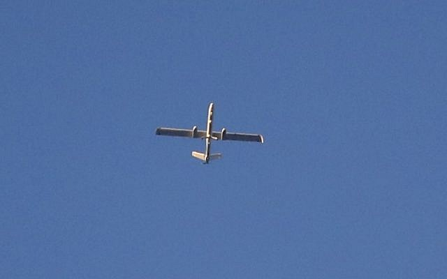 An Israeli Hermes 450 drone flies above the border between Israel and the Gaza Strip on May 29, 2018. (AFP/Jack Guez)