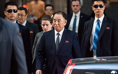 Kim Young Chol, the Vice Chairman of North Korea, leaves the Millennium Hotel on May 30, 2018 in New York. (AFP/COREY SIPKIN)