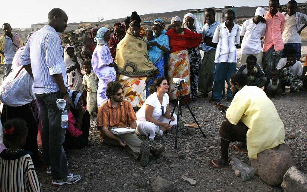 New York Times reporter Jeffrey Gettleman and wife Courtenay in an Afar village in Djibouti. (courtesy)