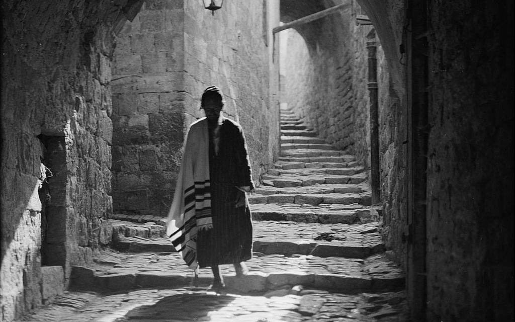 A Jewish pedestrian in the Old City, ca. 1934-1939. (Matson)