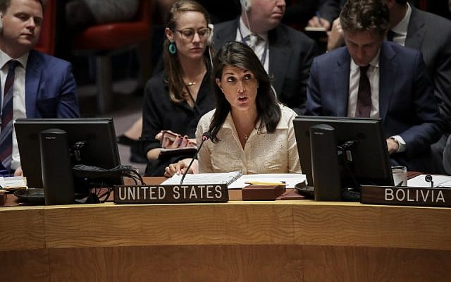 US Ambassador to the United Nations Nikki Haley speaking at a UN Security Council meeting concerning the violence at the border of Israel and the Gaza Strip, at United Nations headquarters, May 15, 2018 in New York City. (Drew Angerer/Getty Images/AFP)