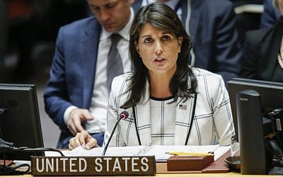 United States Ambassador to the United Nations Nikki Haley speaks during a UN Security Council emergency session on Israel-Gaza conflict at United Nations headquarter on May 30, 2018 in New York City. (Eduardo Munoz Alvarez/Getty Images/AFP)