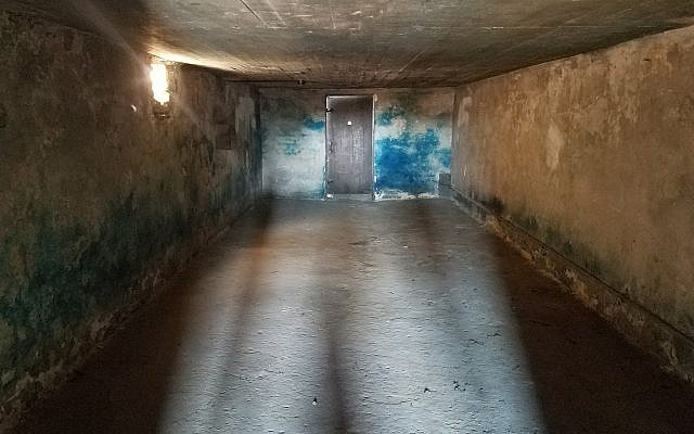 A gas chamber in the former Nazi death camp Majdanek, in Poland, October 2017 (Matt Lebovic/The Times of Israel)