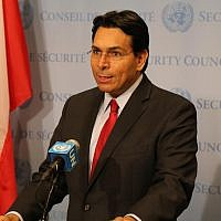 Israel's Ambassador to the United Nations Danny Danon speaks to reporters ahead of a Security Council meeting on May 30, 2018 (Courtesy)