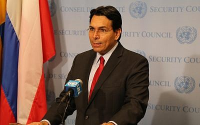Israel's Ambassador to the United Nations Danny Danon speaks to reporters ahead of a Security Council meeting