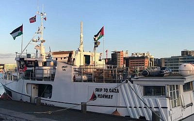 A ship prepares to set sail for Gaza as part of an attempt to bust the blockade on the territory, May 22, 2018 (Courtesy: International Committee for Breaking the Siege of Gaza)