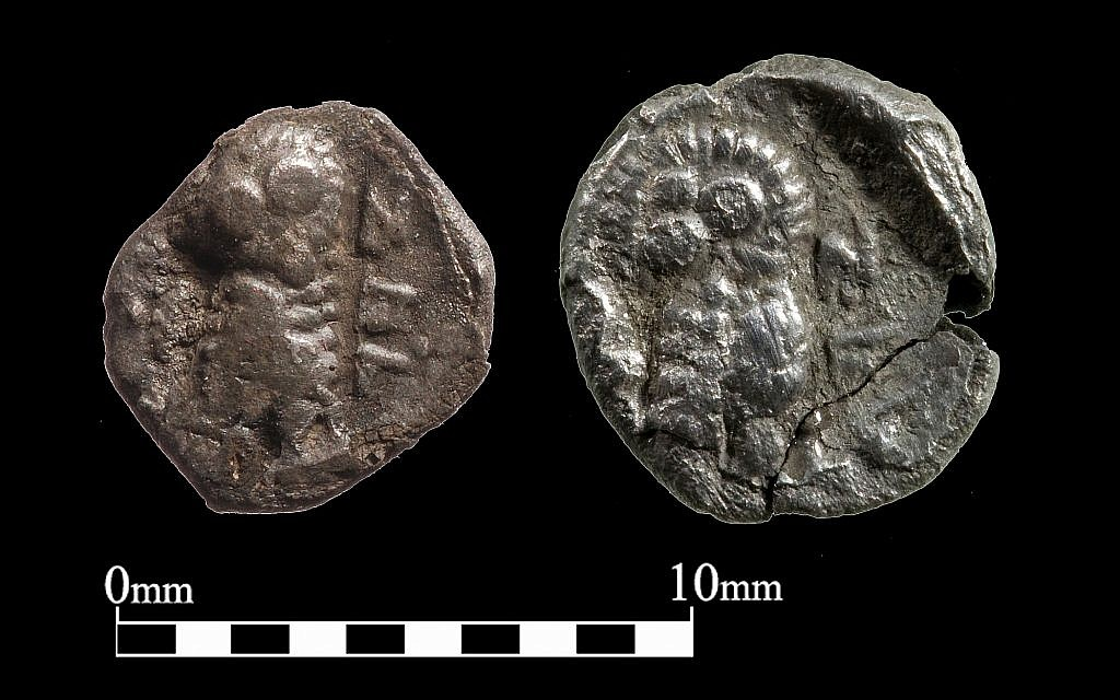 These Jewish-minted coins from Yehud, a province of semiautonomous Jewish rule under the Persian Empire, were discovered by the Temple Mount Sifting Project. (courtesy Temple Mount Sifting Project)