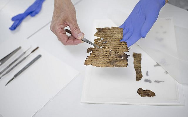 Preservation work of a Dead Sea Scroll fragment. (Shai Halevi, The Leon Levy Dead Sea Scrolls Digital Library)