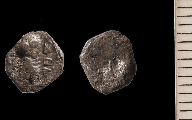 This Jewish-minted coin from Yehud, a province of semiautonomous Jewish rule under the Persian Empire, were discovered by the Temple Mount Sifting Project. (courtesy Temple Mount Sifting Project)
