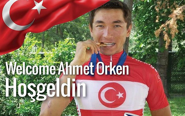 A poster from 2017 welcoming cyclist Ahmet Örken to the Israel Cycling Academy team. (Courtesy Israel Cycling Academy)