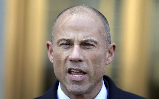 Michael Avenatti, Stormy Daniels' attorney, talks to reporters outside of federal court in New York, April 26, 2018. (AP Photo/Seth Wenig, File)
