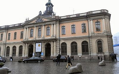The old Stock Exchange Building, home of the Swedish Academy in Stockholm on May 3, 2018. (Fredrik Sandberg/TT via AP)