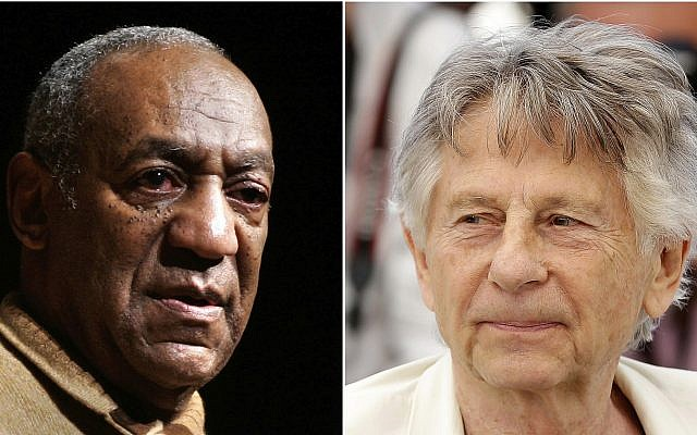 "In this combination photo, Bill Cosby speaks to an audience on the campus of University of the District of Columbia in Washington on May 16, 2006 , left, and director Roman Polanski appears at the photo call for the film, ""Based On A True Story,"" at the 70th international film festival, Cannes, southern France on May 27, 2017. (AP Photo)"