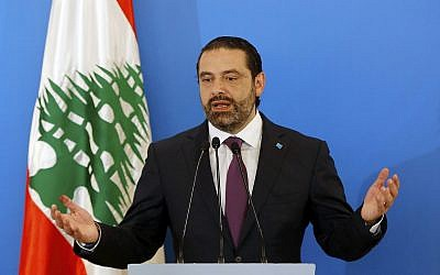 Lebanese Prime Minister Saad Hariri speaks during a press conference in Beirut, Lebanon, May 7, 2018. (AP Photo/Bilal Hussein)